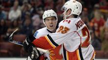 Johnny Gaudreau and Sean Monahan of the Calgary Flames during a game against the Anaheim Ducks on Nov. 6, 2016. (Gary A. Vasquez/USA Today Sports)