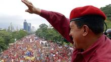 President Hugo Chavez of Venezuela greets supporters in Caracas, Venezuela in 2004. (Egilda Gomez/via The New York Times)