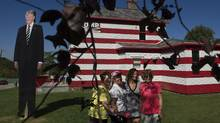 """YOUNGSTOWN, PA - OCTOBER 6: Trump supporters gather at the """"Trump House"""" in Youngstown, Pennsylvania on October 6, 2016. (Jeff Swensen/Getty Images)"""
