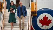 Catherine, Duchess of Cambridge, and Prince William, Duke of Cambridge, arrive at Whitehorse Airport on Sept. 27, 2016. (WPA Pool/Getty Images)