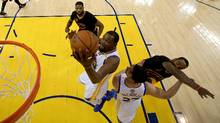 Kevin Durant of the Golden State Warriors goes up for a basket against the Cleveland Cavaliers in Game 5 of the 2017 NBA finals. (Ezra Shaw/Getty Images)