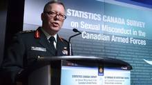 General Jonathan Vance, Chief of the Defence Staff speaks as the Canadian Armed Forces addresses the findings of a Statistics Canada Survey on sexual misconduct in the Canadian Armed Forces during a news conference at National defence headquaters in Ottawa on Monday, Nov. 28, 2016. The military's top police officer says his service will review all sexual assault cases that were dismissed as unfounded going back to 2010. (Sean Kilpatrick/THE CANADIAN PRESS)
