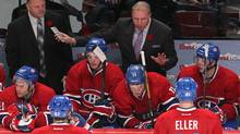Montreal Canadiens head coach Michel Therrien talks to the players during the third period against S