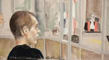Alleged killer Luka Rocco Magnotta is seen in court in an artist's drawing on Jan. 9, 2013 in Montreal. (Mike McLaughlin/The Canadian Press)