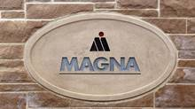Picture taken on May 11, 2009 shows the logo of the corporate headquarters of Canadian auto parts manufacturer Magna International in Aurora, Ontario. (GEOFF ROBINS/AFP/Getty Images)
