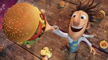 Flint Lockwood (voiced by Bill Hader) invents a machine that rains hamburgers and ice cream on his hometown, Sardine Falls. (Courtesy of Sony Pictures Animat/å©2009 Columbia TriStar Marketing Group, Inc. All Rights Reserved.)