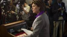 B.C. Premier Christy Clark during a media availability in Vancouver on May 15, 2013, after her party won in the B.C. provincial election. (John Lehmann/The Globe and Mail)