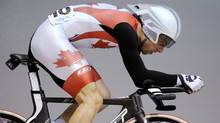 Canada's Zach Bell races in the individual pursuit event of the men's omnium at the Track Cycling World Championships in Melbourne, Australia, Friday, April 6, 2012. (Associated Press)