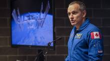 Canadian Space Agency astronaut David Saint-Jacques announces a new research project that he will conduct on board the International Space Station, during a news conference in Calgary, Alta., on Oct. 19, 2016. (Jeff McIntosh/THE CANADIAN PRESS)