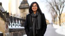 Liberal MP Iqra Khalid on Parliament Hill in Ottawa, on Feb. 3, 2016. Khalid, who sponsored the motion, was applauded loudly by her Liberal fellows as she stood to vote (Dave Chan For The Globe and Mail)
