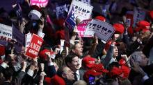 Supporters cheer as they wait for President-elect Donald Trump to give his acceptance speech during his election night rally, Wednesday, Nov. 9, 2016, in New York. (Mary Altaffer/AP)
