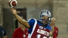 Montreal Alouettes quarterback Anthony Calvillo fires a pass as they face the Hamilton Tiger-Cats during second quarter CFL action Thursday, August 23, 2012 in Montreal. (Paul Chiasson/THE CANADIAN PRESS)