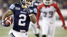 The Toronto Argonauts say the status of receiver Chad Owens will be a gametime decision in the clash against the Hamilton Tiger-Cats on Friday. (file photo) (PETER POWER/THE GLOBE AND MAIl)