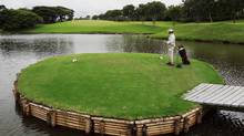 Island tee at golf course in Pereira, Colombia