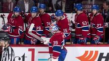 Montreal Canadiens' goalie Mike Condon skates off the ice after allowing the winning shootout goal in Montreal on Monday, Feb. 22, 2016. (Paul Chiasson/THE CANADIAN PRESS)