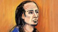 A courtroom sketch of Sayfildin Tahir Sharif, an Alberta man facing terror charges in the U.S. (Amanda McRoberts/Amanda McRoberts/The Canadian Press)
