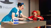 Comedy duo Morro and Jasp spoof corporate culture in their latest stage production, showing at Toronto's Factory Theatre. (Alex Nirta)