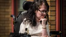 Julia Lamb seen here after a press conference in Vancouver June 27, 2016, suffers from Spinal Muscular Atrophy has launched a legal challenge to the new assisted-dying legislation along with the British Columbia Civil Liberties Association.