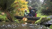 Julie Barlow and her son Dexter Heath, 4, share a moment along Charlie's Trail at Royal Roads University near Victoria,BC. (Chad Hipolito for The Globe and Mail/Chad Hipolito for The Globe and Mail)