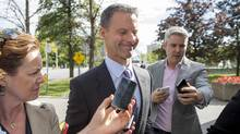Nigel Wright, former chief of staff to Prime Minister Stephen Harper, arrives at the courthouse in Ottawa on Thursday, Aug. 13, 2015 for his second day of testimony at the criminal trial of embattled Sen. Mike Duffy. (Justin Tang/THE CANADIAN PRESS)