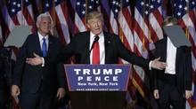 Republican U.S. presidential nominee Donald Trump speaks at his election night rally in Manhattan, N.Y., on Nov. 9, 2016. (MIKE SEGAR/REUTERS)