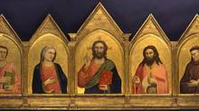 Art Gallery of Ontario: Revealing the Early Renaissance, Giotto di Bondone, Italian, about 1266 – 1337. The Peruzzi Altarpiece Tempera and gold leaf on panel 105.7 x 250.2 cm. From the North Carolina Museum of Art