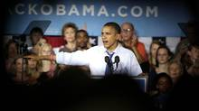 U.S. President Barack Obama speaks during a campaign event at Cornell College in Mount Vernon, Iowa, on Oct. 17, 2012. (NAM Y. HUH/ASSOCIATED PRESS)