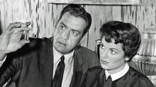 Raymond Burr as Perry Mason and Barbara Hale as Della Street. Image from late 1950s.