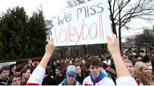 High school students in Oakville, Ont., protest the loss of extra-curricular activities in December, 2012. (Deborah Baic/The Globe and Mail)