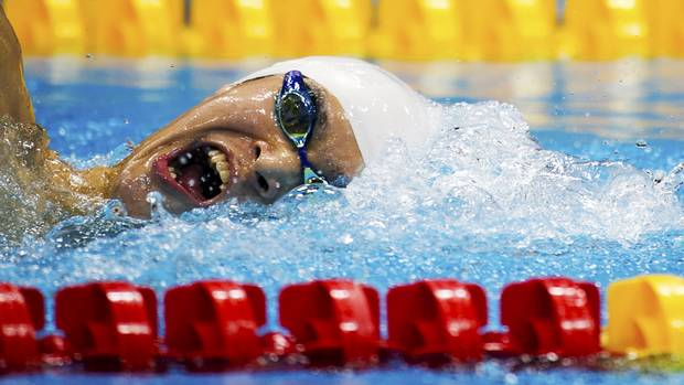China's Sun Yang compete in the men's 1500m freestyle. (Kevin Van Paassen/The Globe and Mail)