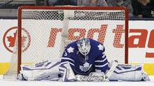 Toronto Maple Leafs goaltender James Reimer (34) reacts after giving up the game winning goal to Winnipeg Jets forward Alexander Burmistrov (not pictured) at Air Canada Centre in Toronto. Winnipeg defeated Toronto 4-2. (John E. Sokolowski/USA Today Sports)