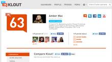 A screengrab of Amber Mac's Klout profile. (Klout)