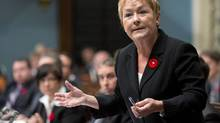 Quebec Premier Pauline Marois responds to opposition questions on Thursday, Nov. 1, 2012, at the legislature in Quebec City. (Jacques Boissinot/THE CANADIAN PRESS)
