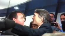 Councillors Giorgio Mammoliti and Gord Perks come close to blows at Toronto city council on October 3, 2012.