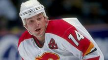 Theoren Fleury of the Calgary Flames in action during a 1998 game against the Pittsburgh Penguins at the Saddledome in Calgary. (Ian Tomlinson)