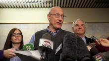 Complainant Paul Magder, centre, and lawyer Clayton Ruby, right, speak at a news conference after a judge found Mayor Rob Ford guilty of breaching a conflict of interest law on Monday, Nov. 26, 2012. Ford has been ordered removed from office in 14 days. (Matthew Sherwood for The Globe and Mail)