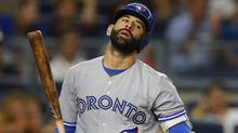 Jose Bautista reacts to a called strike against the New York Yankees during the ninth inning on Wednesday. (Rich Schultz/Getty Images)
