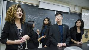 Glenforest Secondary School's STEM club executive, from left: Marah Abdelkader, Jane Jomy, Twinkle Mehta, Gabriel Yeung and Simone Arta. (Christopher Katsarov/The Globe and Mail)
