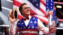 Stephen Colbert, host of The Late Show, recording a segment for his show ahead of the Republican National Convention in Cleveland, Ohio. (TIMOTHY A. CLARY/AFP/Getty Images)