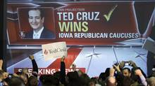 Supporters cheer as caucus returns are reported at Republican presidential candidate, Sen. Ted Cruz, R-Texas, caucus night rally, Monday, Feb. 1, 2016, in Des Moines, Iowa.