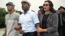 British actor David Oyelowo, centre, plays Dr. Martin Luther King and Carmen Ejogo plays Coretta Scott King in Selma. (Photo credit: Atsushi Nishijima/Atsushi Nishijima)