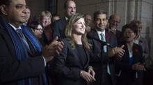 Rona Ambrose speaks after being named as the interim-leader of the Conservative party, Nov. 5, 2015. (Adrian Wyld/THE CANADIAN PRESS)
