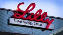An Eli Lilly & Co. sign is displayed outside the company's office in La Jolla, Calif. (Konrad Fiedler/Bloomberg)