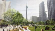 Toronto wants to build a downtown park over the open rail corridor between Bathurst and Blue Jays Way. (Courtesy of City of Toronto)