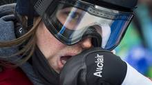 A dejected Canadian Spencer O'Brien after placing 12th overall in the ladies Slopestyle event February 9, 2014 at the Sochi Winter Olympics. (John Lehmann/The Globe and Mail)