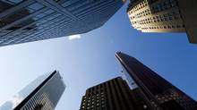 Canadian bank headquarters stand on Bay Street in Toronto on Monday August 29, 2011. (Brent Lewin/Bloomberg)