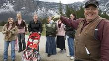 Winston Blackmore the religious leader of the polygamous community of Bountiful located near Creston, B.C. shares a laugh with six of his daughters and some of his grand children Monday, April 21, 2008 near Creston, B.C. (Johnathan Hayward/ The Canadian Press/Johnathan Hayward/ The Canadian Press)