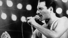 Rock star Freddie Mercury seen here in a 1985 file photo performing at a concert in Sydney, Australia. (Gillian Allen/Associated Press)