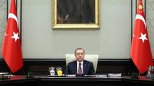 Turkish President Tayyip Erdogan chairs a National Security Council meeting in Ankara on July 17, 2017. (HANDOUT/REUTERS)