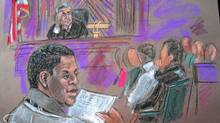 This Oct. 6, 2010 courtroom sketch shows defendant Ahmad Khalfan Ghailani, left, at his trial in New York. (SHIRLEY SHEPARD/Shirley Shepard/AFP/Getty Images)
